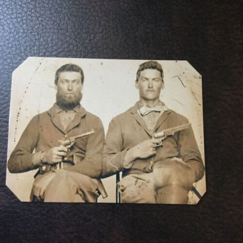 2 Civil War US Soldiers With Pistols tintype C752RP