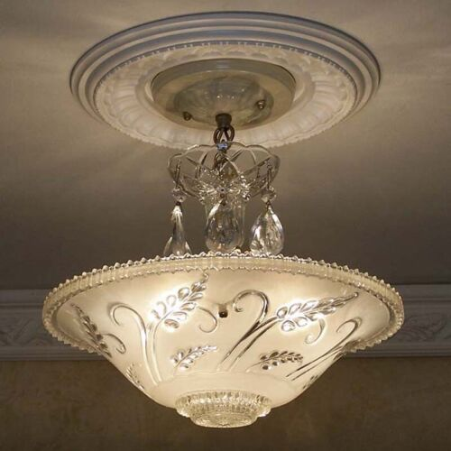 595 Vintage Ceiling Glass Light Lamp Fixture Chandelier Lights antique white