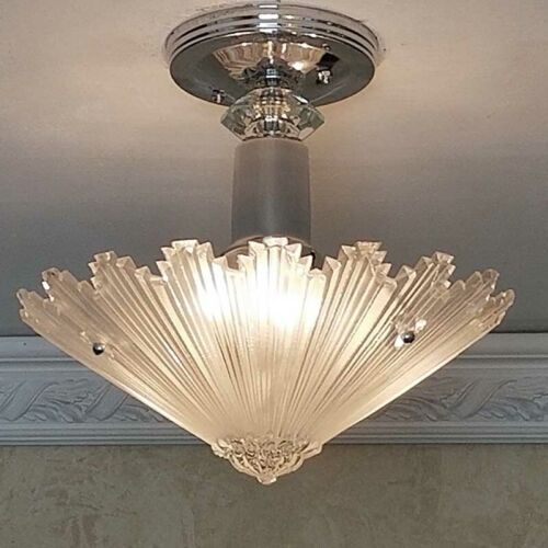 409b Vintage arT Deco Ceiling Light Lamp Fixture Glass Shade chandelier ReWired