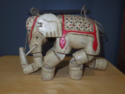"""Vintage Indian Wooden Hand-Carved Elephant Puppet Marionette 6 7/8"""" Tall Used/GC"""