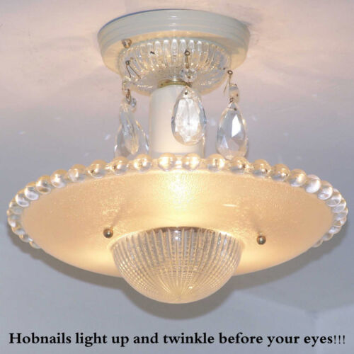 172b Vintage aRT DEco CEILING LIGHT chandelier fixture glass tan