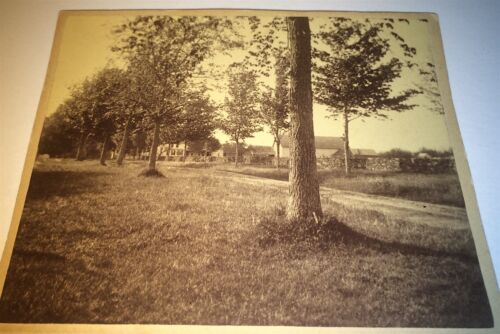 Antique Victorian American New England Road & House! Landscape Old Cabinet Photo