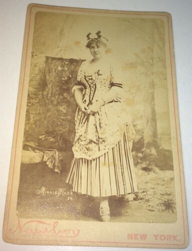 Rare Antique Victorian American Actress Minnie Hank Costume NY Cabinet Photo! US