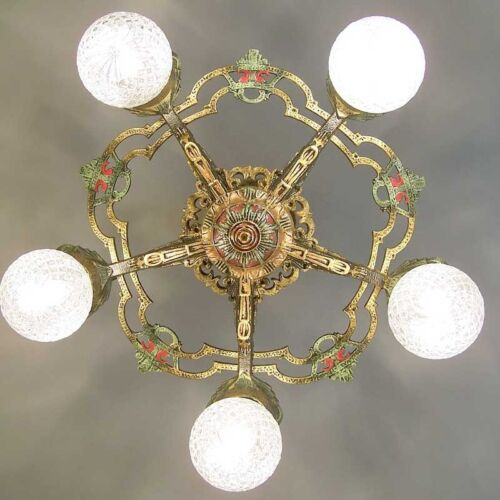 751 Vintage Antique 30's Ceiling Light fixture art nouveau polychrome chandelier
