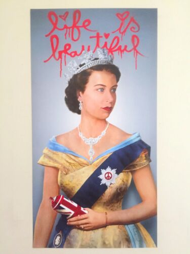 MR BRAINWASH LIFE IS BEAUTIFUL QUEEN ELIZABETH AUTHENTIC LITHOGRAPH PRINT POSTER