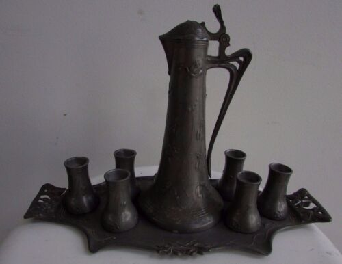 ART NOUVEAU PEWTER DRINKS SET JUG CUPS TRAY LIBERTY STYLE EMBOSSED FLORAL DECO