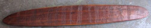 OLD ABORIGINAL WOODEN PARRYING SHIELD LARGE INCISED CARVED AUSTRALIAN