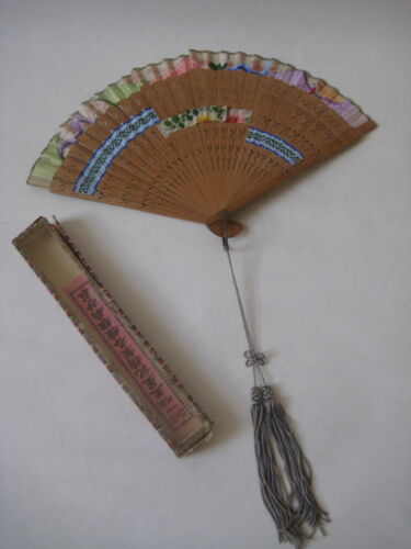 Antique Wang Sin Kee Shop Shanghai China FAN vintage Chinese silk hand painted