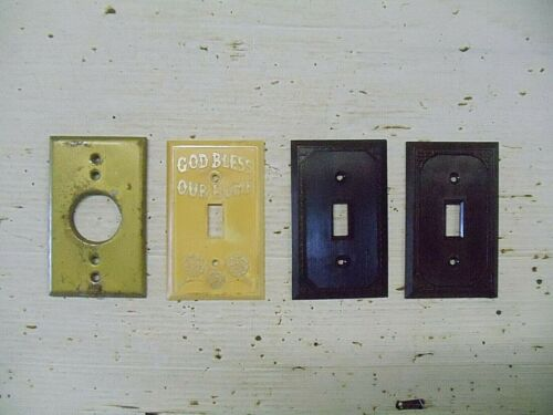 4 Old Vintage Fancy Bakelite Light Switch Plate Cover Ivory Brown Brass
