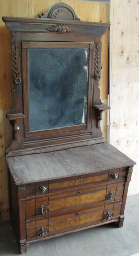 Antique American Eastlake Walnut Dresser & Mirror With Rose Granite Top C 1880