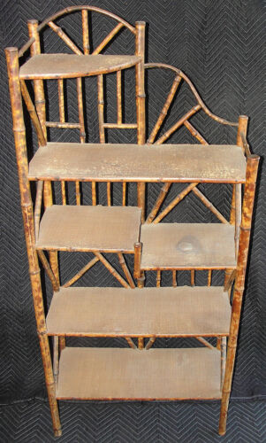 Rare Antique Victorian English / Chinese Japanese Pyrography Bamboo Etagere WOW!