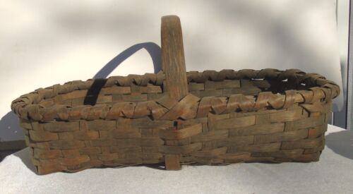 Antique Primitive Large Wood Splint Tobacco Basket Wood Brace on Bottom