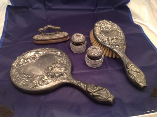 Antique Victor Silver Co Silver Plate 5 Piece Ladies Dresser Vanity Set Mirror