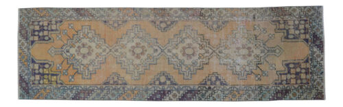 """Faded Hand Knotted Oushak Runner Muted Color Turkish Distressed Rug 2'11"""" x 9'7"""""""