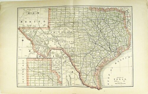 c 1890 Map of Texas + Indian Terr by Cram ? ~ Color Lithograph Engraving