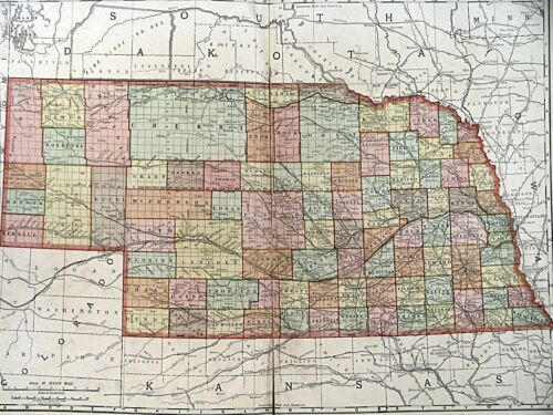 1895 MAP OF NEBRASKA Rand McNally Co Color Lithograph Engraving Large Doublepage