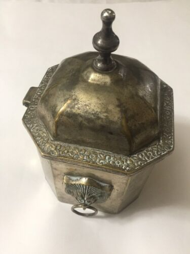 Antique Box Engraved Octagon With Lion Head Handles, Rare