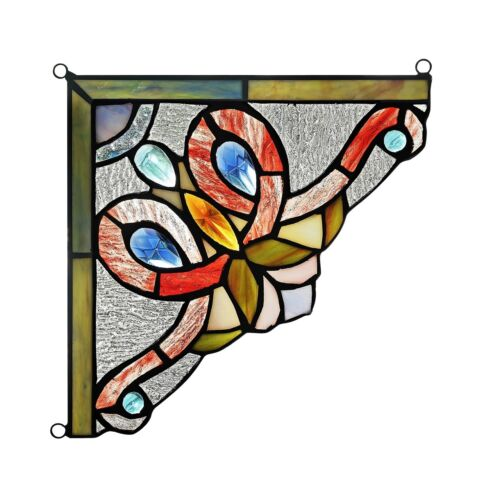 """Victorian Tiffany Style Stained Glass Corner Window Panel 8"""" Handcrafted  PAIR"""