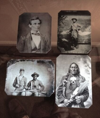 Lot of 4 Civil War tintypes Including Lincoln & Native American C052RP $39.99