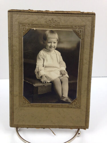 Vintage Photo - Small Child sitting on a bench - Very Cute!