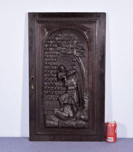 *Large French Antique Deeply Carved Architectural Panel Door Solid Oak Romantic