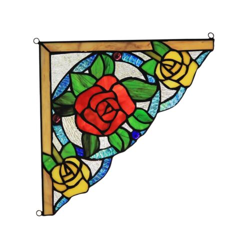 """Floral Tiffany Style Stained Glass Corner Window Panels 8"""" Wide Handcrafted PAIR"""