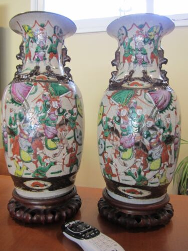 (2) 19TH C CHINESE PORCELAIN CRACKLE CRACKED GLAZE WARE FAMILLE ROSE BIG VASES