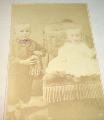 Antique Victorian American Fashion Siblings! Adorable Children! PA CDV Photo! US