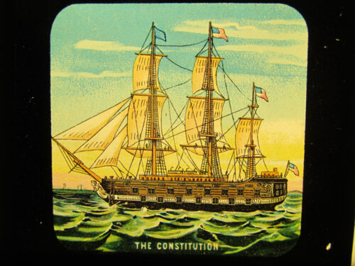 The Constitution Sailing Ship Antique Magic Lantern Glass Slide Photo Colored