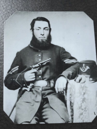 Civil War Military Soldier with pistol  tintype C511RP