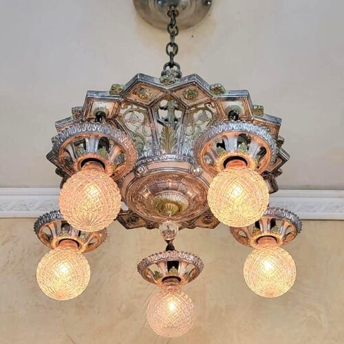 586b Vintage Antique Ceiling Light 30's  aRT Nouveau Polychrome Chandelier