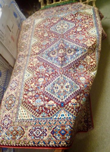 large vintage red tapestry or area rug with geometric design 46 x 69
