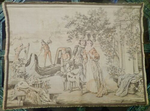 vintage tapestry with a Venetian Couple and Gondolas 24 x 32