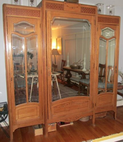 French Art Deco Oak Mirrored Armoire