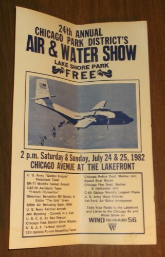 1982 Chicago Air & Water Show Poster US Army Golden Knights Plane Parachute TeamOther Militaria - 135