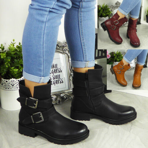 Ladies Buckle Ankle Boots Womens Biker Zip New Winter Casual Mid Calf Shoes Size