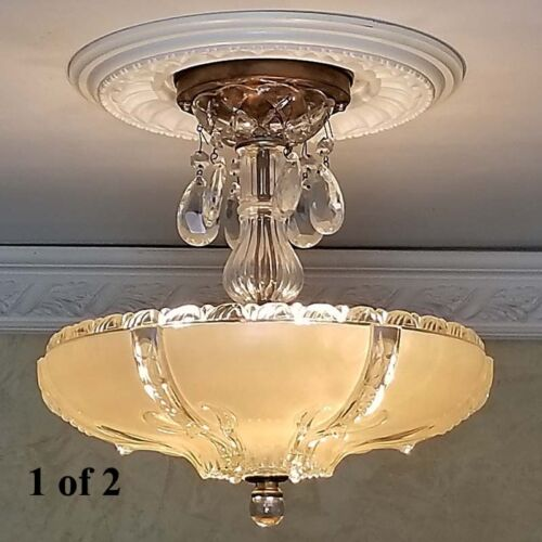 428b Amazing 40's Vintage Ceiling Lamp Fixture Glass Chandelier 3 Lights 1 of 2