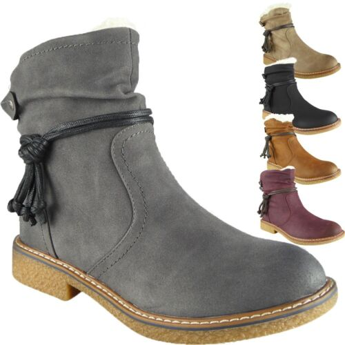 Womens Ladies Ankle Faux Fur Boots Casual Winter Snow Grip Sole New Shoes Size