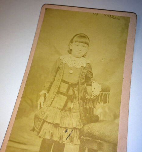 Antique Gorgeous Young Girl W/ Victorian Fashion & Ribbons! Locket! CDV Photo!
