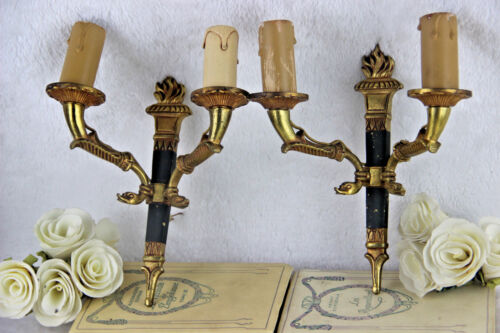 PAIR french empire Brass metal swan arms wall lights sconces 1950's