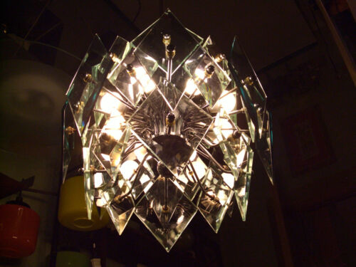 TERRIFIC ! Vintage 1970 Space age Chandelier 8 lights Fontana Arte ? Nice Price