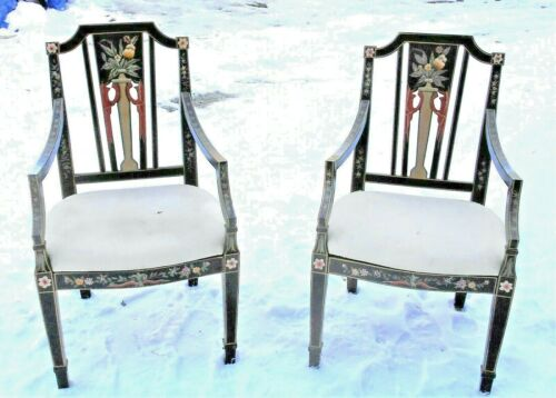 PAIR OF MID CENTURY CLASSICAL ADAMS FLORAL PAINTED BLACK ARMCHAIRS