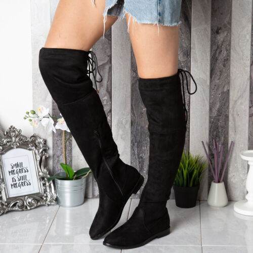 Ladies Thigh High Boots Womens Over The Knee Low Heel Lace Up Flats Shoes Size