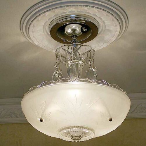486 Vintage aRT DEco CEILING LIGHT chandelier fixture glass shade bedroom white