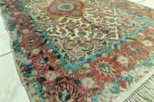 Antique Hand Knotted Hereke Silk gold Wire Rug