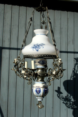 XL Dutch Delft blue white  pottery angels cherubs metal glass chandelier 3 arms