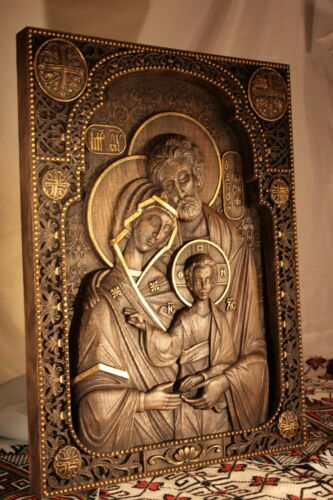 WOOD CARVED CHRISTIAN ICON RELIGIOUS HOLY FAMILY WALL HANGING ART WORK