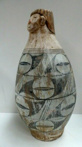 OLD SOUTH AMERICAN POTTERY TERRACOTTA POT VASE FACE HAND PAINTED PERU INCA MAYAN