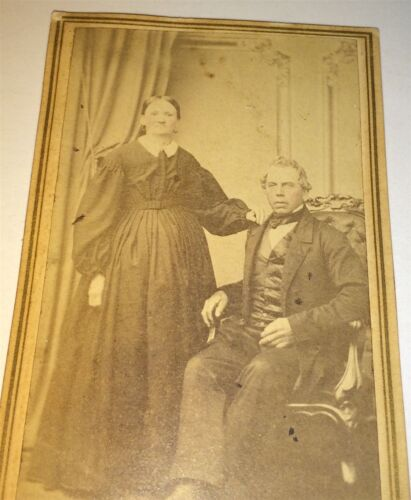 Antique American Civil War Era Husband & Wife! Lancaster, PA! CDV Photo! Stamp!