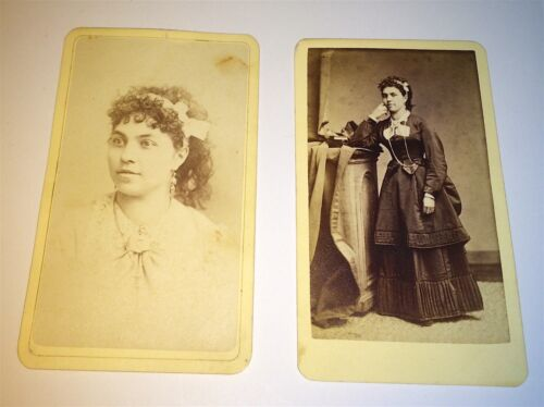 (2) Antique Victorian American CDV Photos of Same Beautiful Young Woman! Chicago